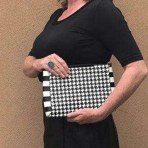 J. Crew Textured Leather Houndstooth Clutch, NWOT